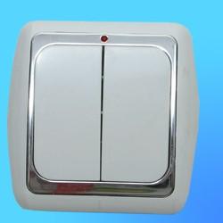 Выключатель 2 СП С56-003 АБС серый./сереб. рамка со световым индикатором (Ростов)