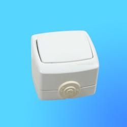 """Выключатель 1 ОП ВА66-102Б, брызгозащищённый, белый, """"Рондо"""" (Wessen)"""