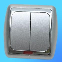 Выключатель 2 СП С56-002 АБС металлик/серебр. рамка (Ростов)
