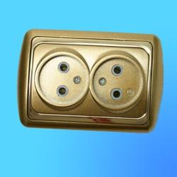 Розетка 2 СП 2РС16-004 АБС метал.зол./зол. рамка (Ростов)