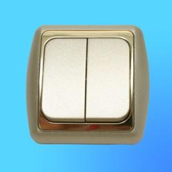 Выключатель 2 СП С56-002 АБС метал,.крем./зол. рамка (Ростов)