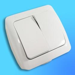 """Выключатель 2 ОП """"Alsu"""" белый, брызгозащищенный 5040200202 (El-Bi)"""