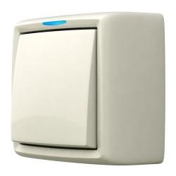 Выключатель одноклавишный с подсветкой, открытой установки, цвет белый