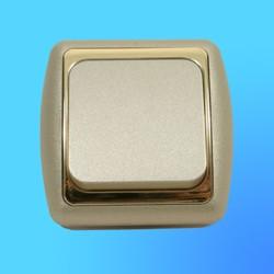 Выключатель 1 СП С16-002 АБС метал,крем./зол. рамка (Ростов)