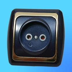 Розетка 1 СП РС16-004 АБС метал., син./зол. рамка (Ростов)