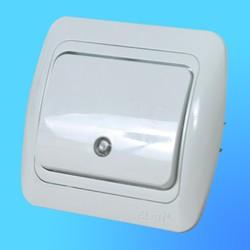 """Выключатель 1 СП """"Tuna"""" белый, с декор.вставкой со световым индикатором 5020202201 (El-Bi)"""