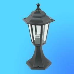Светильник садово-парковый 4104 шестигр. конструкция, 60Вт Е27 IP33 405х200 (металл+стекло) черный