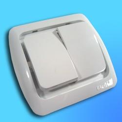"""Выключатель 2 СП """"Tuna"""" белый, с декор вст. 5020202202 (El-Bi)"""