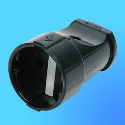 Гнездо штепсельное (розетка для удлинителя) 10054 (Makel) чёрное
