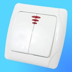 """Выключатель 2 СП """"CARMEN"""" белый, со световым индикатором 90561050  (VI-KO)"""