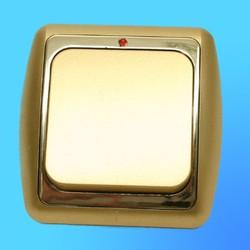 Выключатель 1 СП С16-003 АБС метал,зол./зол. рамка со световым индикаторм (Ростов)