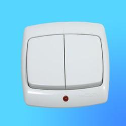 """Выключатель 2 СП ВС5У-227 белый, со световым индикатором, 10 """"А"""", """"Рондо"""" (Wessen)"""