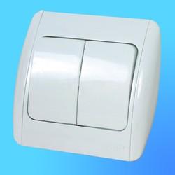 """Выключатель 2 СП """"Zirve"""" белый, с бок.декор.вставками 5010202202 (El-Bi)"""