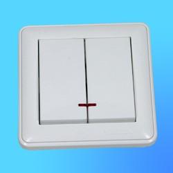 """Выключатель 2 СП ВС516-251-18  белый, со свет.инд. """"Вессен59"""" (Wessen)"""