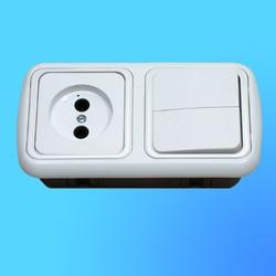 """Блок 2В-РЦ-535 СП (2-кл.выкл.+розетка) АБС с серебрянной рамкой """"Гармония люкс"""" (Мин)"""
