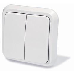 Выключатель двухклавишный скрытой установки, цвет белый