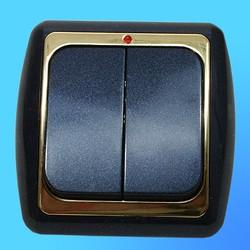 Выключатель 2 СП С56-003 АБС метал.,син./зол.со световым индикатором (Ростов)