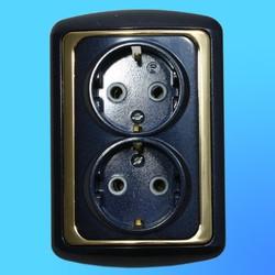 Розетка евро 2 СП 2РС16-003 АБС металл., син./зол. рамка (Ростов)
