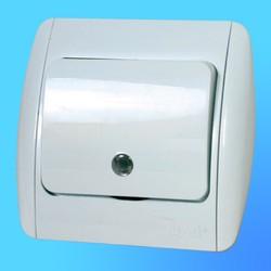 """Выключатель 1 СП """"Zirve"""" белый, с бок.декор.вставками со световым индикатором 5010202201 (El-Bi)"""