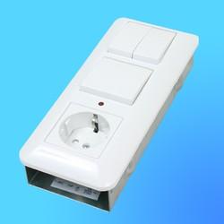 Блок БК2ВР-007А, белый (евророзетка+1-кл.выкл.с инд.+2-кл.выкл.) (Wessen)