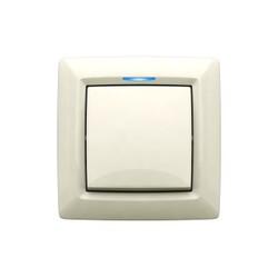 Выключатель одноклавишный с подсветкой, скрытой установки, цвет белый
