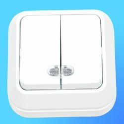 Выключатель 2 ОП белый со световым индикатором 45123  (Makel)