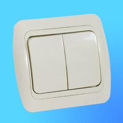 """Выключатель 2 СП """"Tuna"""" крем, с декор.встав 5020303202 (El-Bi)"""