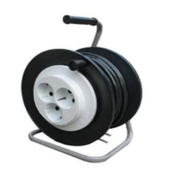 Удлинитель на пластиковой катушке УХ-02-1, 3 розетки Евро, 10 метров, c заземляющим контактом