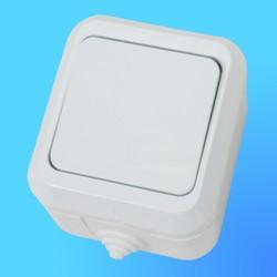 Выключатель 1 ОП белый, влагозащ.18300 (Makel)