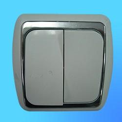 Выключатель 2 СП С56-002 АБС бел/серебр. рамка (Ростов)