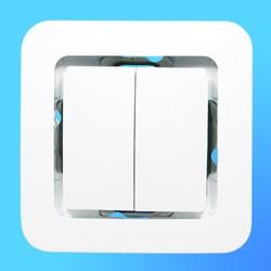 """Выключатель 2 СП """"Lillium"""" белый, без декор.вставки  71003 (Makel)"""