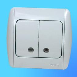 """Выключатель 2 СП """"Zirve"""" белый, с бок.декор.вставкой, со свет. инд. 5010202203 (El-Bi)"""