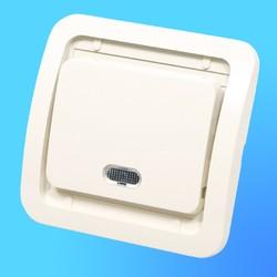 """Выключатель 1 СП """"Мимоза"""" крем, без декор.вставки со световым индикатором 32021 (Makel)"""