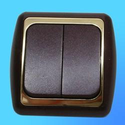 Выключатель 2 СП С56-002 АБС метал., бордо/зол. рамка (Ростов)