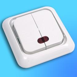"""Выключатель 2 СП """"Жасмин"""" крем, без декор.вставки со световым индикатором 90554050  (Vi-Ko)"""