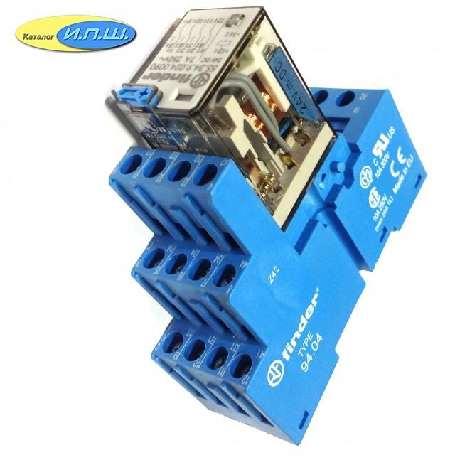 553490240040 реле 7А упр. 24VDC, с розеткой на дин рейку - 9404SMA - finder, цена - купить у Промэлектрика / Реле промежуточные / Маркет / Элек.ру