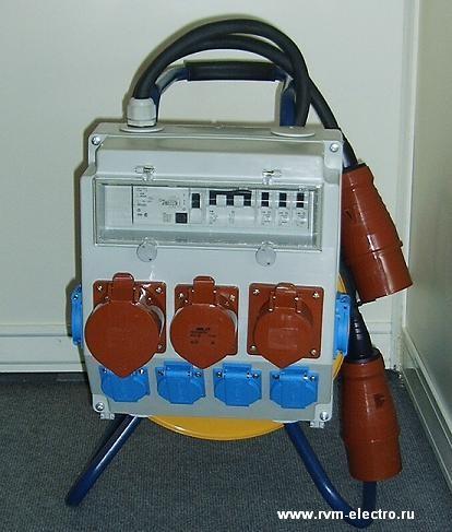 Удлинитель с блоком защиты и распределения (щиток 380В/220В) 40 метров на стальной катушке - 4-18-1072-экс.