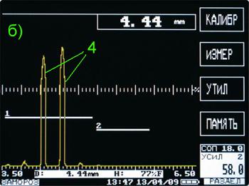 дефекты увеличенной площади: 1, 2 – строб-импульсы; 3- донный сигнал; 4-эхо- сигналы от дефектов
