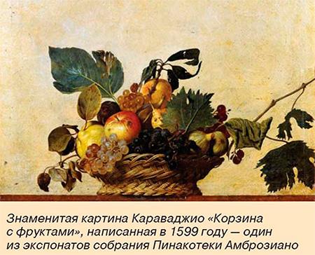 Картина Карваджио. Корзина с фруктами. 1599 г.