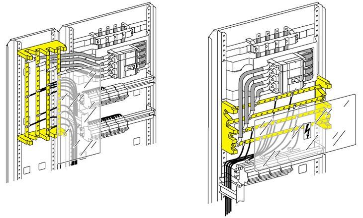 Схема горизонтальной и вертикальной установки распределительного блока