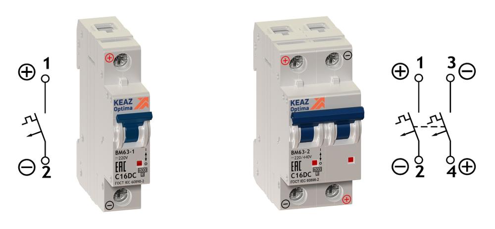 Схемы подключения однополюсного и двухполюсного автоматического выключателя