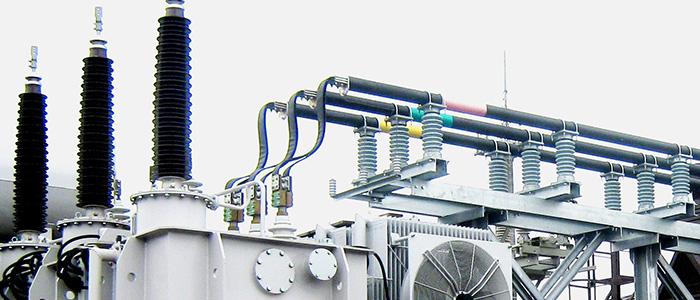 Соединение гибкими шинами шинного моста 10 кВ с выводами силового трансформатора