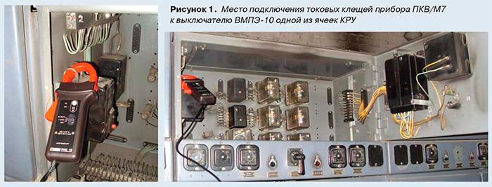 Место подключения токовых клещей прибора ПКВ/М7