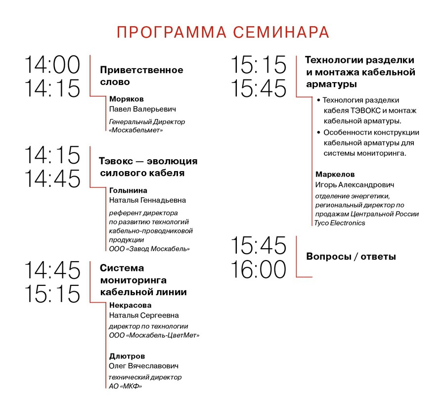 Программа семинара в рамках выставки Cabex 2018