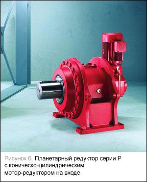 Планетарный редуктор серии Р с коническо-цилиндрическим мотор-редуктором на входе