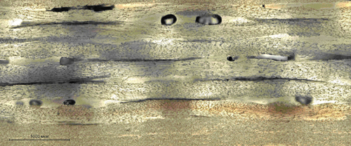 Макрошлиф дефектного участка конструкции из стеклопластика, выявленного термографическим и ультразвуковым методами контроля