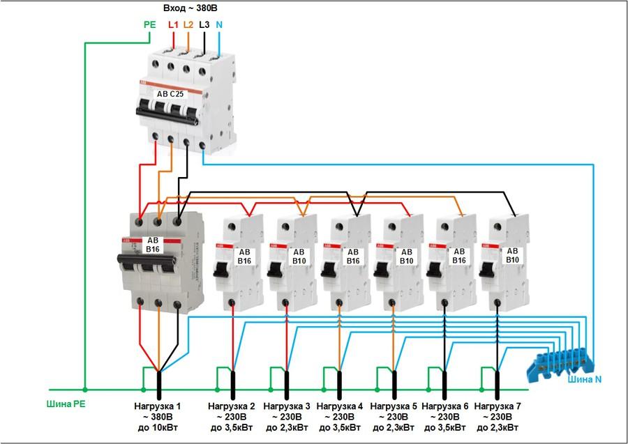 Трехфазный щиток схема подключения