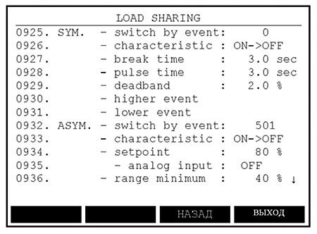Рис. 3. Экран распределения нагрузки