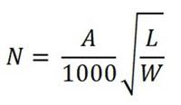 Формула для вычисления общего числа датчиков, обеспечивающих контроль качества воздуха