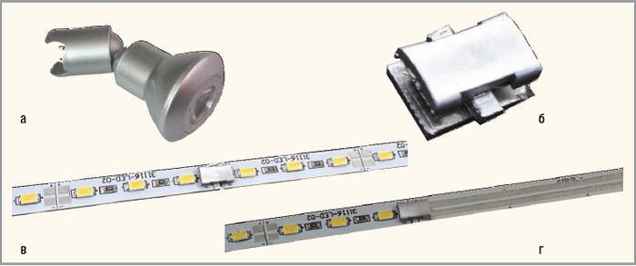 Рис. 3. Источники света: а – точечный источник света; б – соединитель для плат; в – пример cсоединения двух кластеров; г – пример соединения кластера и платы-проводника